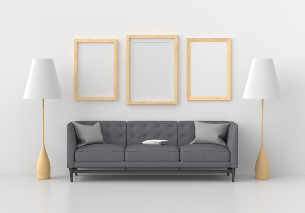 Three empty photo frame in modern living room, 3d render
