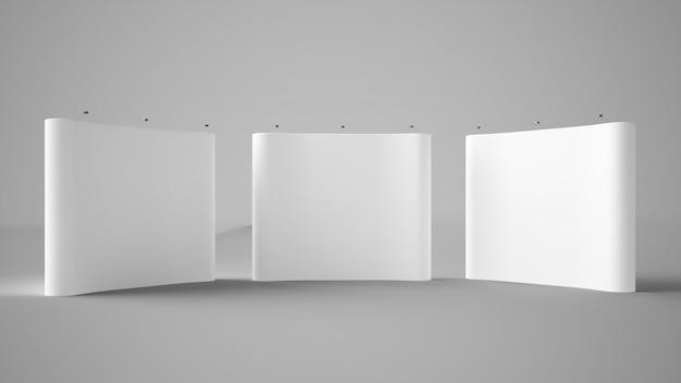 Three exhibition displays