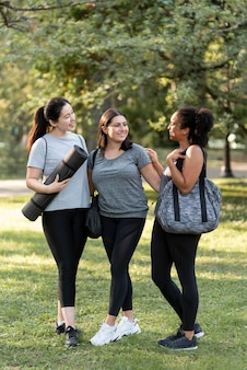 Three female friends at the park