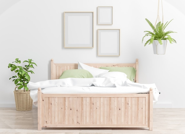 Three frames on a bedroom mockup 3d rendering