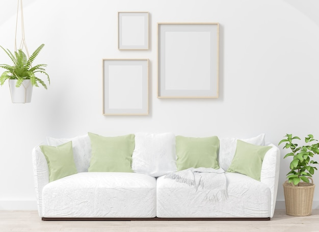 녹색 식물 3d 렌더링 인테리어 거실에 세 프레임 콜라주 모형