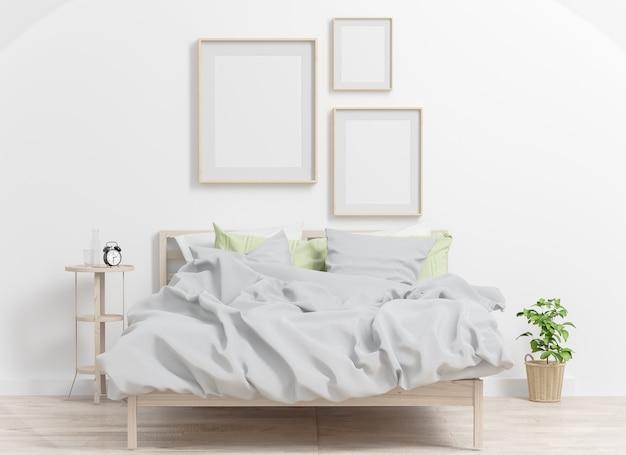 침실 인테리어 모형에 세 프레임 콜라주. 3d 렌더링.