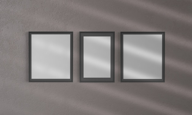 Три кадра на стене макет 3d рендеринга