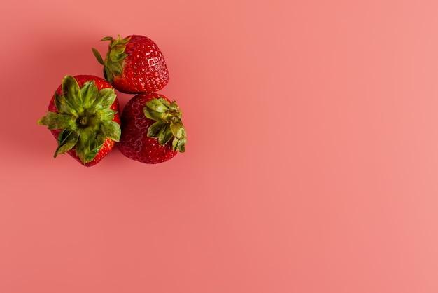ピンクの背景に3つの新鮮なジューシーなイチゴが横たわっています。コピースペース