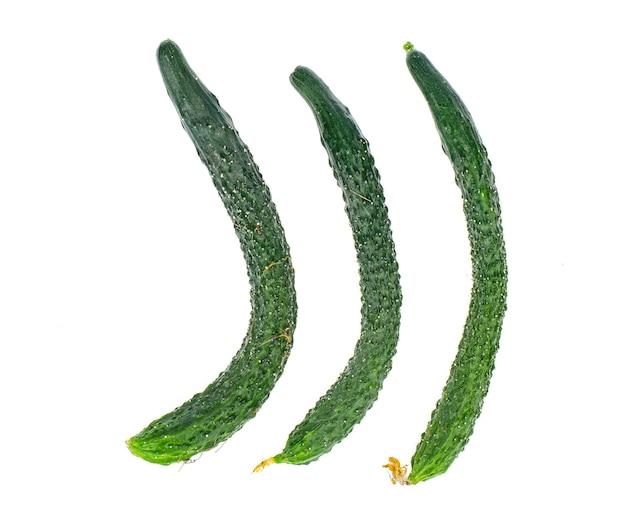 白い背景の上の3つの新鮮な長い緑のきゅうり。