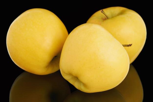 Three fresh ripe yellow apples on black background