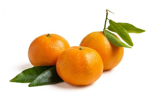 Three fresh seasonal tangerines