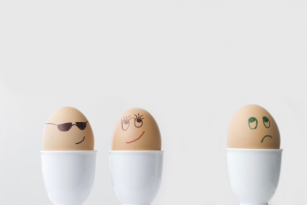 Three funny eggs