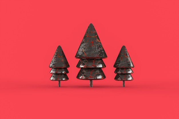 Three galss christmas tree  minimalist wallpaper .  merry christmas concept
