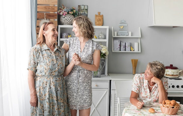 Three generation women in kitchen