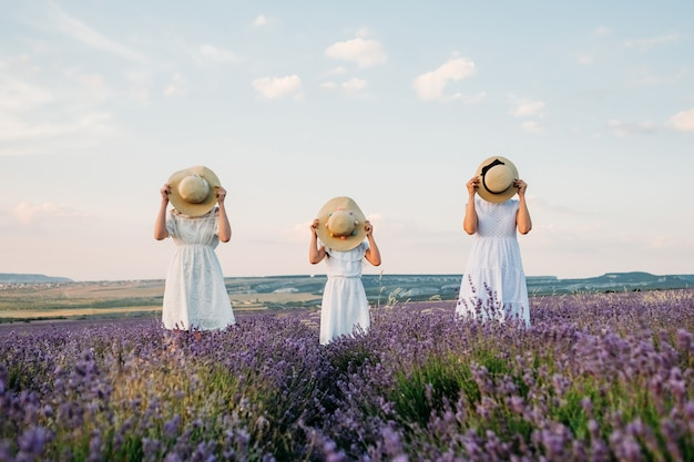 Three girls with hats in a lavender field