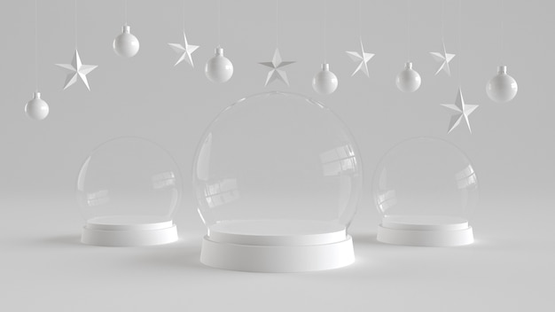 Three glass dome with white tray on white background.