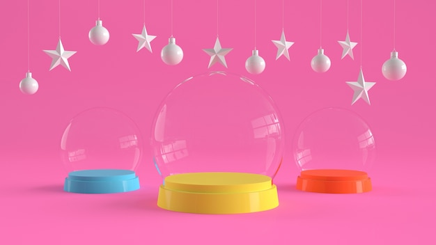 Three glass domes with colorful tray color on  pink background.