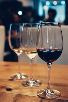 Three glasses for wine tasting