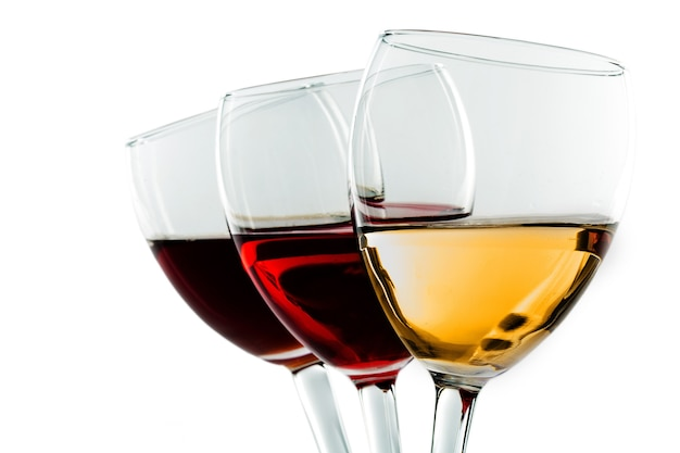 Three glasses of wine - white, rose and red