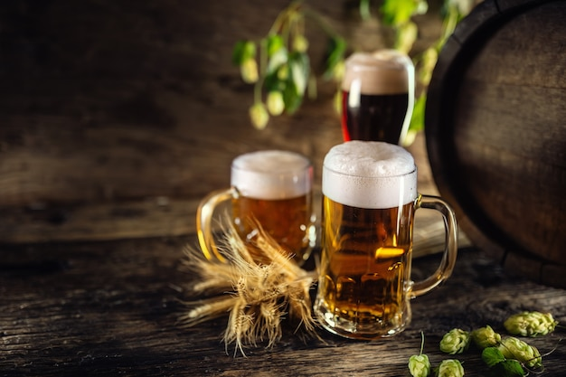 Три бокала с разливным пивом перед деревянной бочкой. украшение ячменных колосьев и свежего хмеля.