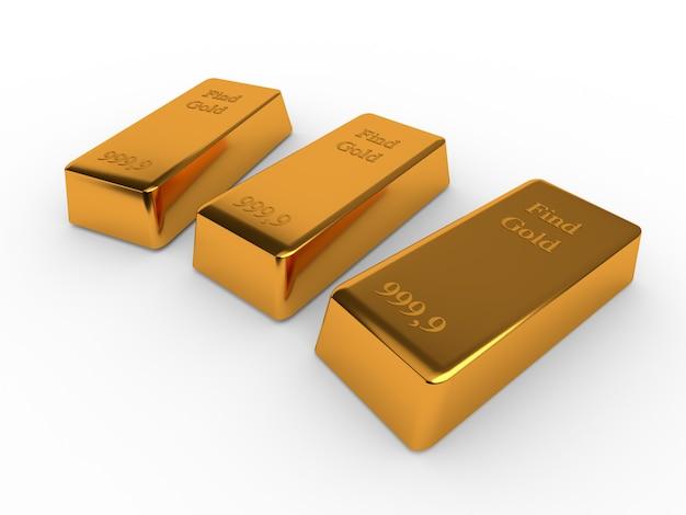 Три золотых слитка, изолированные на белом