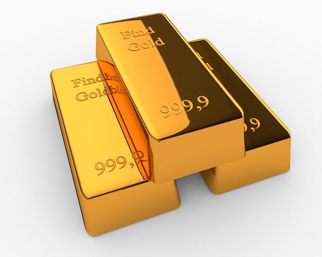 Три золотых слитка лежат друг на друге в форме пирамиды