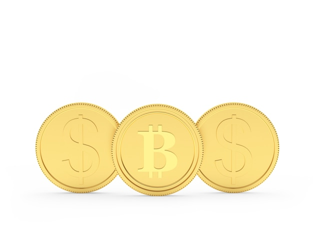 Three gold coins with dollar and bitcoin sign