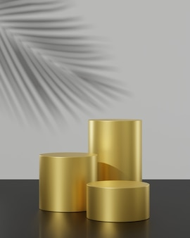 Three gold podium stands on black and white background with palm tree shadow 3d render