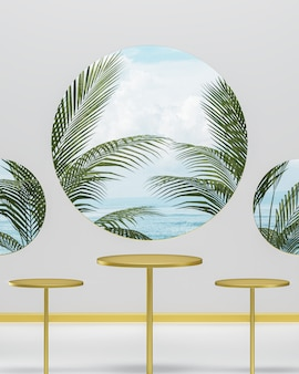 Three gold podium stands on a white background for product placement with blue sky and ocean and tropical trees 3d render