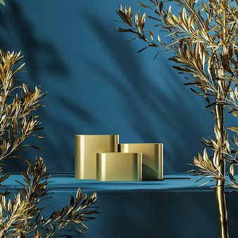 Three gold podiums on blue platform, gold plants foreground and plants shade background, abstract background for product presentation or advertising. 3d rendering