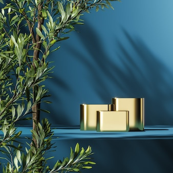 Three gold podiums on blue platform, green plants foreground and plants shade background, abstract background for product presentation or advertising. 3d rendering