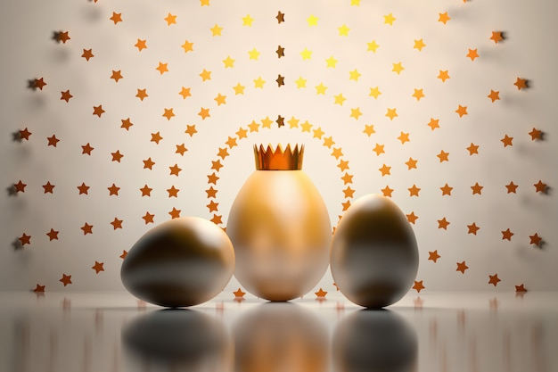 Three golden eggs with a crown and stars standing on the reflective surface.