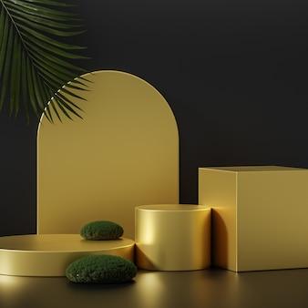 큰 열대 나무와 검은 배경에 3 개의 황금 연단 무대 스탠드 제품 배치를 위해 3d 렌더링