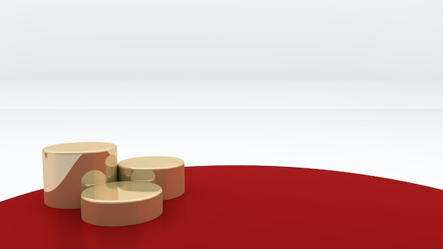 Three golden round podiums are placed on a red background