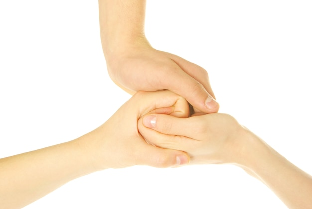 Three hands together isolated