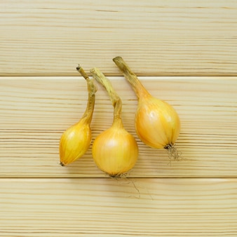 Three heads of onions on a light wooden background