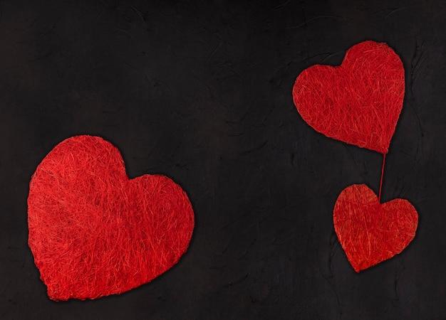 다른 크기의 세 가지 마음. 발렌타인 데이 컨셉