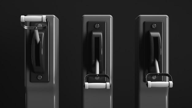 3つの高電圧トグルスイッチ。電力業界のトピック。