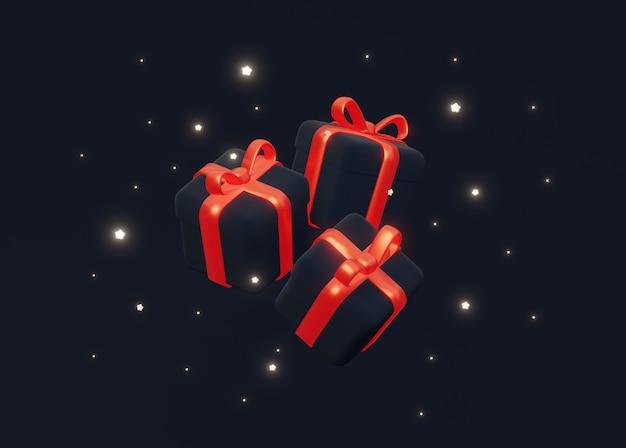 반짝이는 별이 있는 어두운 배경에 빨간 리본이 달린 세 개의 크리스마스 선물.