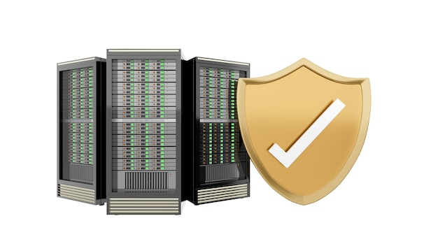 Three hosting server racks with golden shield and checkmark. isolated white background clipping path image. 3d render illustration image.
