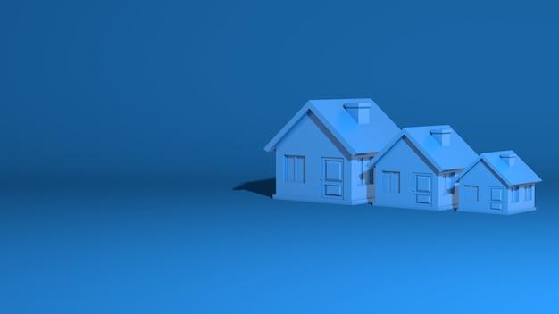 Три дома, большие, средние, маленькие. модель представляет собой одноэтажное деревенское здание. стильная минимальная абстрактная горизонтальная сцена, место для текста. модный классический синий цвет. 3d рендеринг