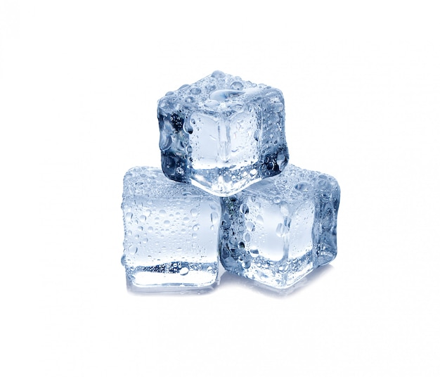 Three ice cubes on white background