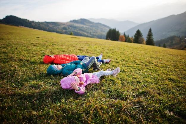 地平線にゴージャスな山脈と草の中に横たわっている3人の子供。