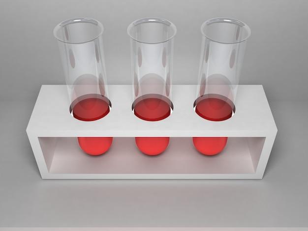 Three laboratory tubes stand