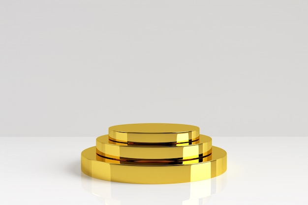 Three layers golden product stand on white background. gold pedestal with reflection and shadow on floor