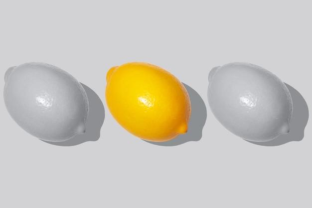 Три лимона, серый и абсолютный желтый