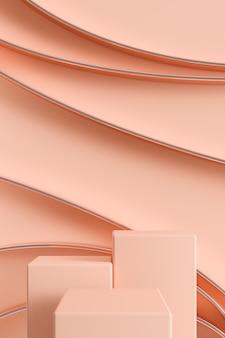 반짝이는 원형 선, 광고 브랜딩 및 제품 프리젠 테이션을위한 추상적 인 배경이있는 세 가지 밝은 색상의 연단. 3d 렌더링