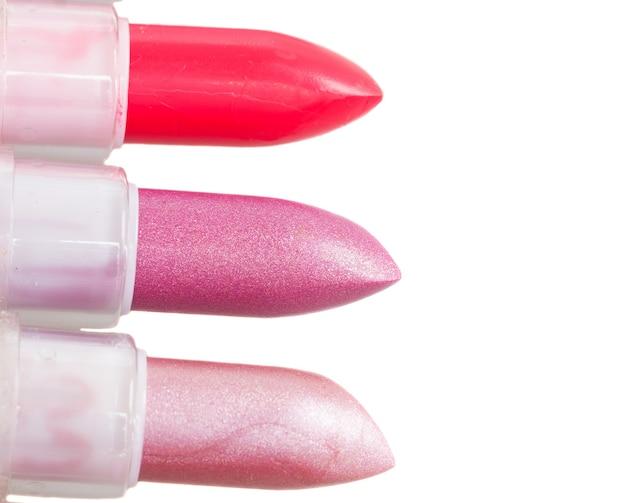 3 립스틱 가까이 흰색 절연