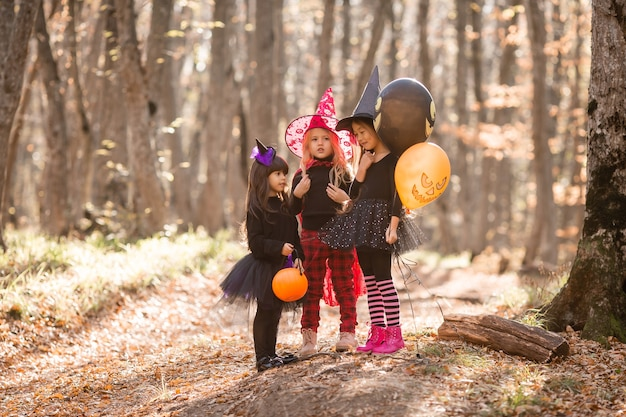 Three little girls in witch costumes laugh walk through the autumn forest with baskets for sweets