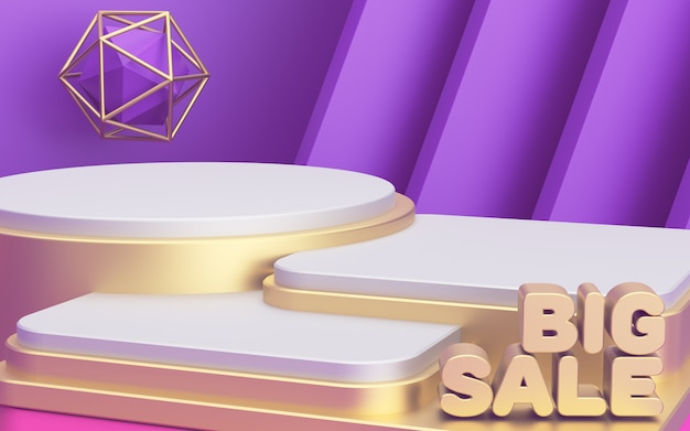 Three luxury podiums of different heights to showcase your products. promo poster big sale. abstract modern background. 3d render.