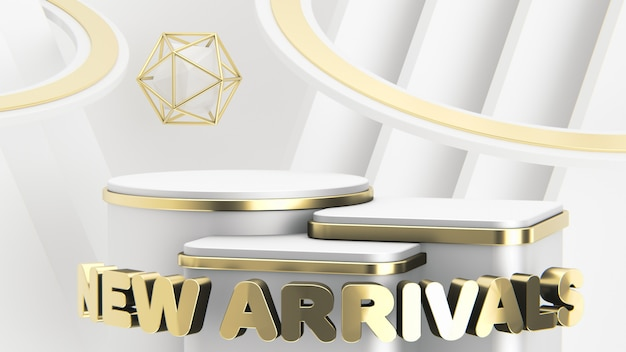 Three luxury white and gold podiums of different heights to showcase new arrivals. abstract modern background. 3d render