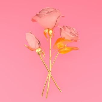 Three metallic roses on pink background illustration 3d render