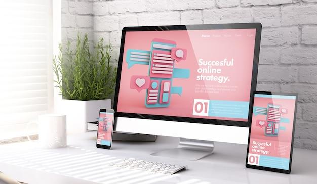 デスクトップの3dレンダリングでオンラインマーケティングのウェブサイトを表示する3つのモックアップデバイス
