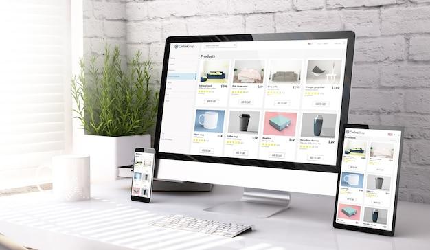 デスクトップの3dレンダリングでオンラインショップのウェブサイトを表示する3つのモックアップデバイス
